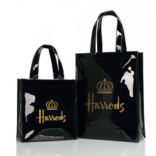 Londres estilo pvc reutilizável saco de compras das mulheres eco amigável pequena assinatura shopper saco à prova dwaterproof água bolsa de ombro