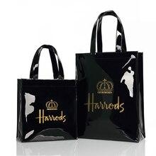 ロンドンスタイルpvc再利用可能なショッピングバッグの女性のバッグ環境にやさしい小さな署名ショッパーバッグ防水ハンドバッグショルダーバッグ