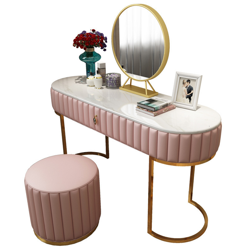Dresser Bedroom Ins Ins Marble Light Luxury Dresstable Simple Stainless Steel Makeup Table