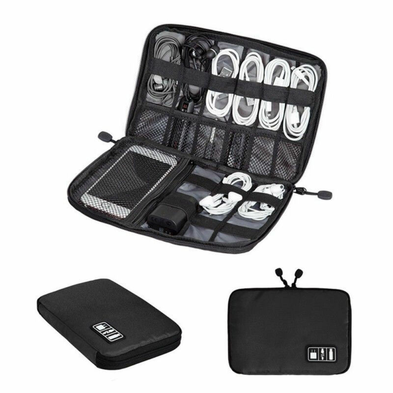 Digital Electronic Accessories Storage Bag Solid Zipper Ear Phone USB Charging Wire Organizer Case Portable Travel Insert Bag
