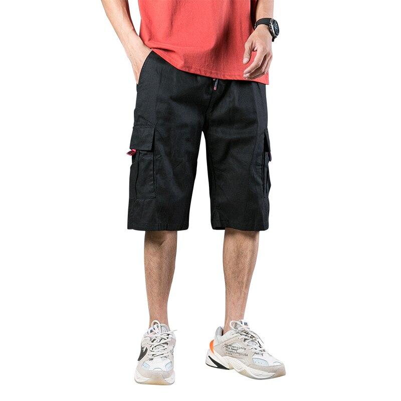 Streetwear Mens Shorts Cargo With Pockets Casual Cotton Shorts Fashion Stretch Loose Pants Erkek Giyim Short Sweatpants XX60MS
