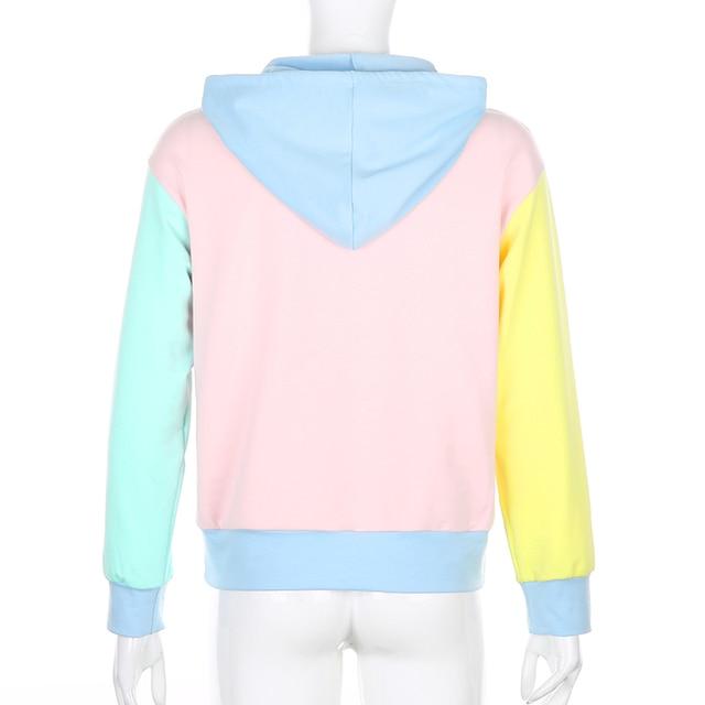 SUCHCUTE Lose Weight Hoodies Women Contrast Color Hoody With Hat Y2K Aesthetic 90s Patchwork Hoodie Cute Sweatshirts