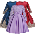 Highend elegant Girls Dresses Long sleeve silk Lace Christmas Clothes Wedding Party Dress For Girl Children's Princess Dresses girl dress long girls dress dresses for girls -
