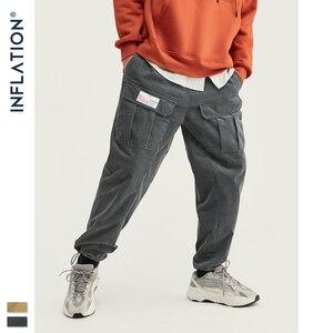Image 3 - INFLATION 2020 Collection hommes décontracté velours côtelé survêtement pantalons hommes coupe ample velours côtelé salopette couleur unie décontracté hommes pantalons 93319W