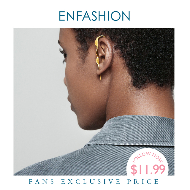 Enfashion Punk Wave Eenvoudige Stud Oorbellen Voor Vrouwen Goud Kleur Verklaring Geometrische Curve Oorbellen Mode sieraden Oorbellen EC1070