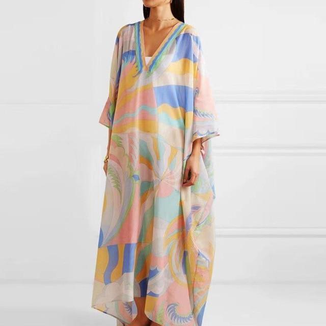 Retro Floral Print Elegant Maxi Dress Women 2021 Summer V-Neck Loose Long Boho Dresses Casual Female Split Dress Ladies Vestidos 5