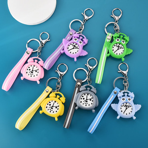 New soft rubber owl alarm clock keychain pendant alarm clock student bag pendant cartoon PVC pendant