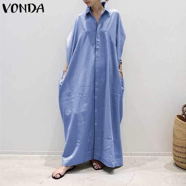Plus Size Shirt Dress Women's Autumn Sundress 2019 VONDA Vintage Casual Long Maxi Dress Tunic Vestidos V Neck Solid Robe Femme 1