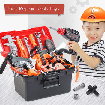 Simulation Chidlren Repair Tools Toys Hand Drill Wrench Toolbox Kit Learning Engineer Carpenter Pretend Play Tools Toys For Boys