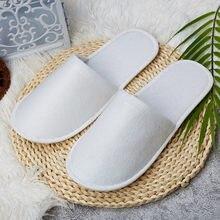5-100 par de viagem descartável hotel chinelos toledo branco fechado toe spa sapatos conjuntos banheiro chuveiro banho acessórios