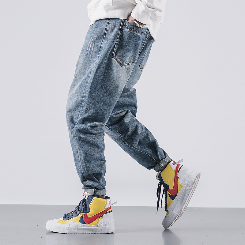 Japanese Vintage Fashion Men Jeans Retro Blue Loose Fit Ripped Denim Harem Pants Streetwear Hip Hop Wide Leg Designer Jeans Men