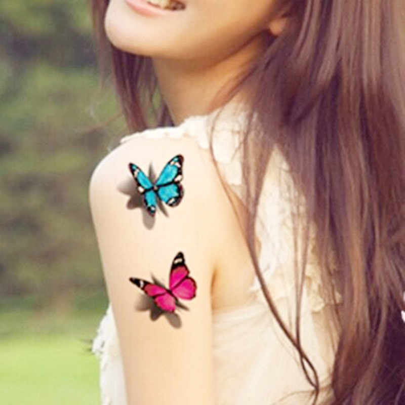 New Watercolor 3D Butterfly Temporary Tattoo Sticker Waterproof Women Fake Tattoos Men Children Body Art Hot Design 9.8X6cm