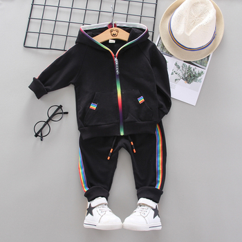 Kids Spring Autumn baby Clothes Suit Children Boy Girl Hooded Rainbow Zip Jacket Pants 2 Pcs/set Toddler Cotton Infant Clothing iyeal newest 2018 spring autumn baby girls clothes sets denim jacket tutu dress 2 pcs kids suits infant children clothing set