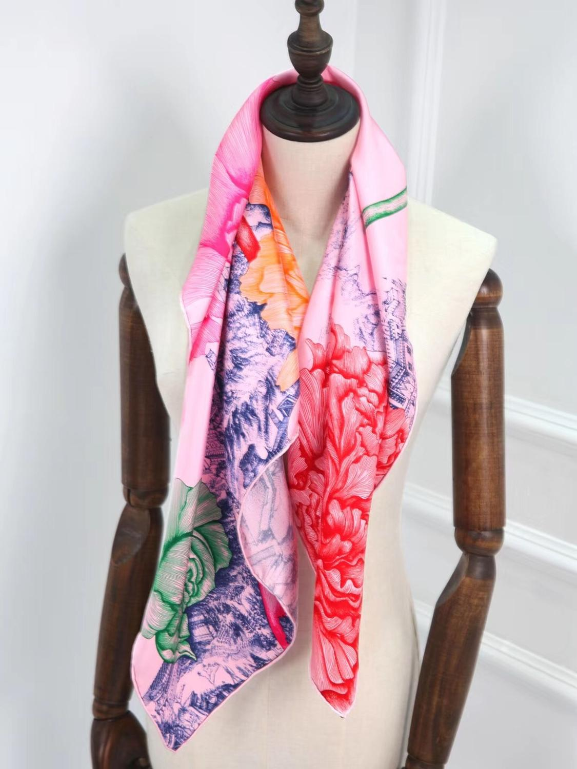 2020 new arrival spring classic pattern 100% pure silk scarf twill hand made roll 90*90 cm shawl wrap for women lady