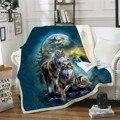 Волчье Флисовое одеяло 3D полностью печатное носимые одеяло Взрослые/Дети Флисовое одеяло домашние аксессуары Прямая поставка стиль-2