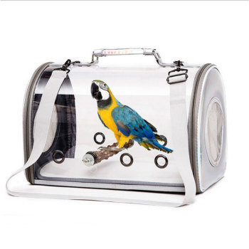 Portable Travel Bird Cage Carrier with Wooden Standing Stick Transparent Parrot Handbag Outdoor Shopping Carrying Shoulder Bag