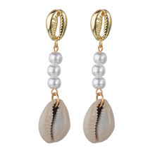 Korean Freshwater Pearl Drop Earrings For Women Starfish Consh Gold Shell Bule Red Stone Earrings Statement Jewelry Party Gifts(China)
