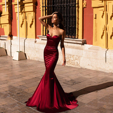 Smileven Strapless Wine Red Mermaid Prom Dresses 2020 Sexy Sweetheart Neck Evening Party Gowns Floor Length Dress