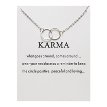 Ailodo Double Circles Pendant Necklace For Women Girl Silver Color Chain Statement With Card Fashion Jewelry Gift LD353