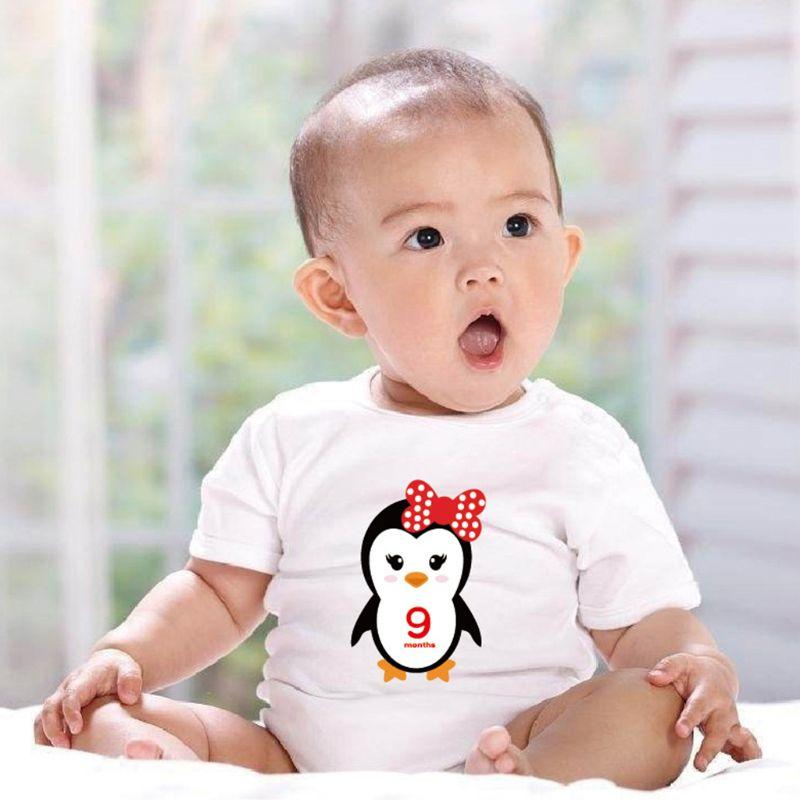 12 Pcs/set Baby Monthly Sticker Milestone Record Label Cartoon Animal Month Stickers Newborn Shower Photography Prop E65D