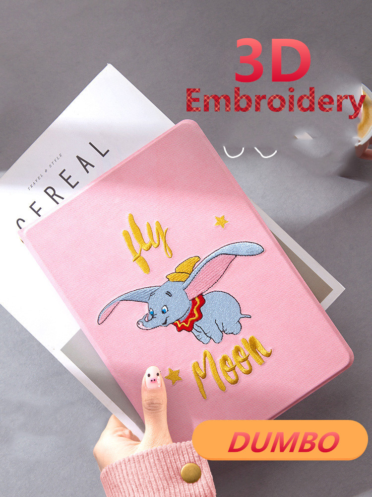 Pink Cartoon DUMBO 3D Embroidery Case Smart Cover Soft TPU Back for new iPad 9.7 2017 2018 Air 1 2 5 6 Tablet Auto Sleep/Wake