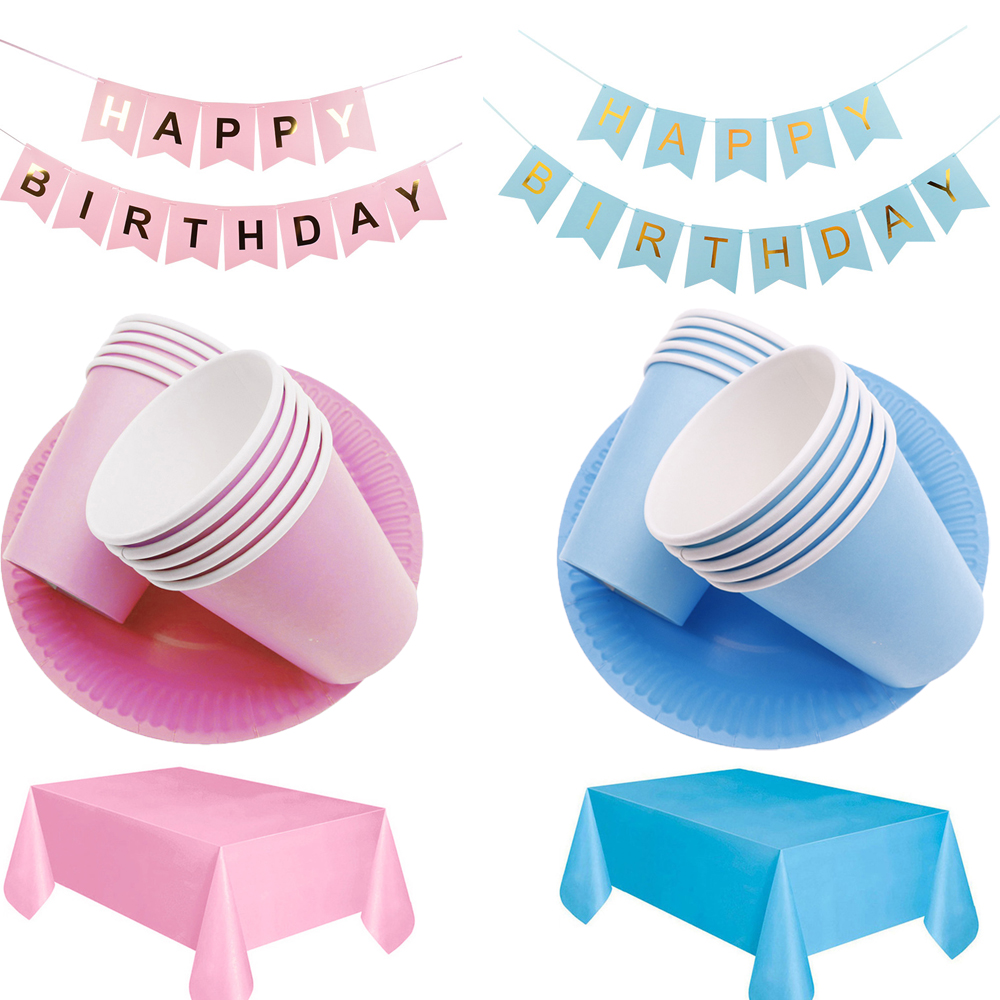 Blue Pink Plate Cup Straw Solid Color Tablecloth Birthday Party Home Decoration Disposable Tableware Baby Shower Party Supplies