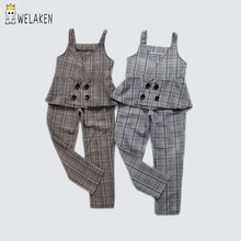 weLaken Retro Gentleman Style Clothing Sets For Girls Kids Sleeveless Double-breasted Vest+Plaid Suit Trousers 2pcs Girl Clothes