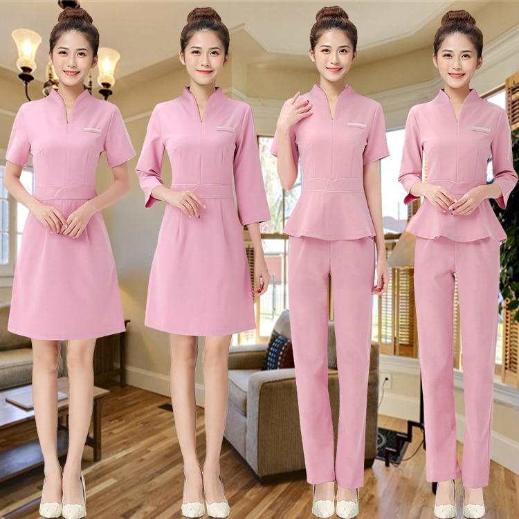 Women Workwear 2pcs Sets Female Sauna Foot Bath Uniforms Beauty Clothing Beautician Medical Work Clothes SPA Uniform Dress