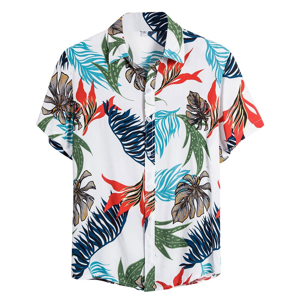 Summer Man Shirt Mens Ethnic Short Sleeve Loose Casual Cotton Linen Printing Hawaiian Shirt Beach Blouse Top Blouse Men Quality