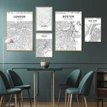 Черно белая карта города плакат Нью Йорк Лондон Токио настенная