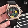 Luxe neuf japonais argent Rose or noir caoutchouc en acier inoxydable hommes montres chronographe saphir céramique lunette Baguette