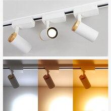Скандинавский деревянный COB светодиодный светильник для трека, Точечный светильник для дома, магазина одежды, коридора, черный, белый, 110 В, 220 В, 20 Вт, 25 Вт