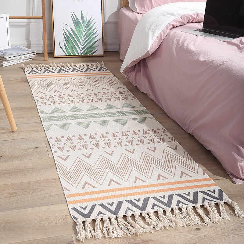 Alfombras para dormitorio Rectangular hechas a mano, borla de algodón y lino, estilo étnico Vintage, tapiz, puerta delantera, alfombras a cuadros