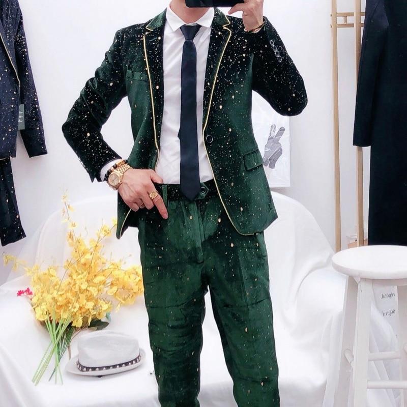 Blazer Masculino Verde Men Black Blazer Sexy Costumes Mens Wedding Blazer Singer Man's Suit 2020 Male Evening Show Blazer Hombre