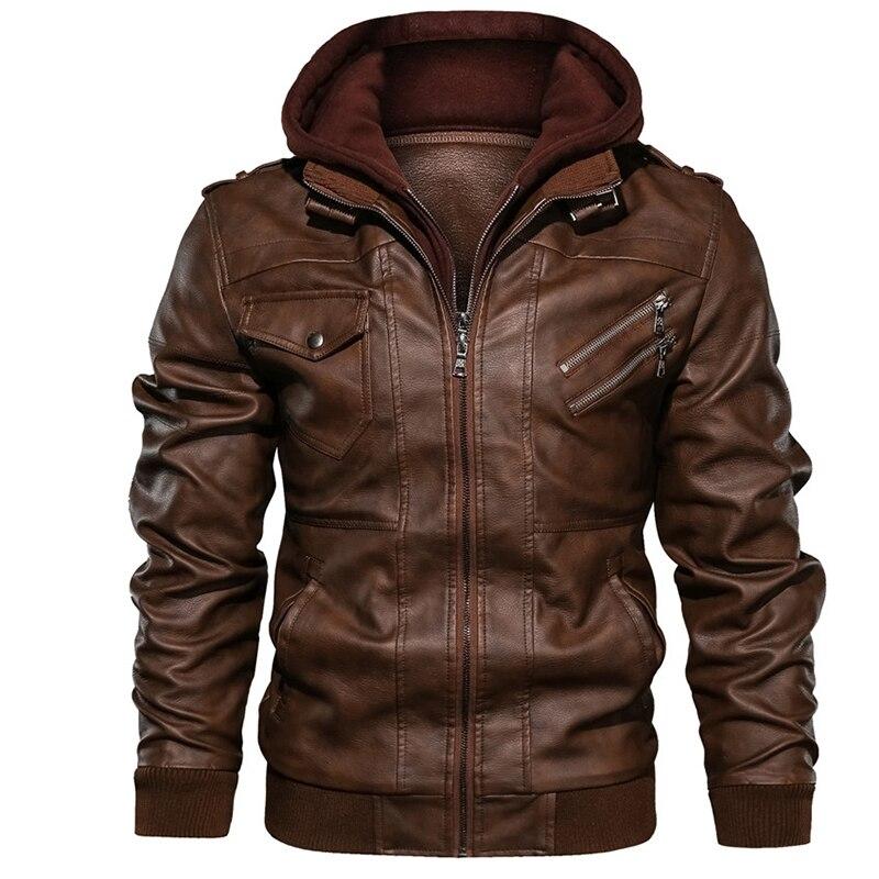 Men's Leather Jacket Autumn Locomotive PU Jacket Detachable Double Zipper Hooded Knight Leather Coat Brand Clothing EU Size