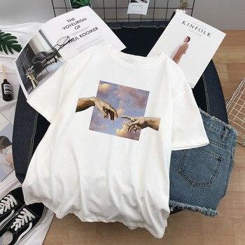Women T Shirts Michelangelo Print Tshirt Streetwear Tops Female T-shirts Oversized Short Sleeve Tee Shirt Harajuku Woman T-shirt