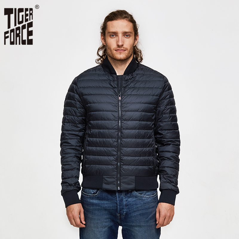 TIGER FORCE Man Jacket Bio-based Cotton Padded Coat Ultralight Fashion Men's Spring Outerwear Casual Men Puffy Bomber Jacket