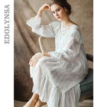 Frauen Vintage Gothic Viktorianischen Nacht Kleid Weiß Baumwolle Flare Hülse V ausschnitt Spitze Verziert Rüschen Rand Herbst Nachthemd T29