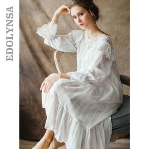 Image 1 - Womens Vintage Gothic Victorian Night Dress White Cotton Flare Sleeve V Neck Lace Embellished Ruffle Hem Autumn Nightgown T29