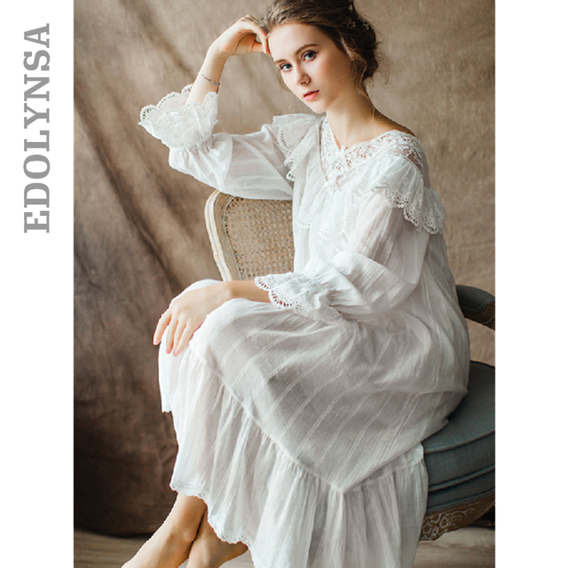Womens Vintage Gothic Victorian Night Dress White Cotton Flare Sleeve V Neck Lace Embellished Ruffle Hem Autumn Nightgown T29