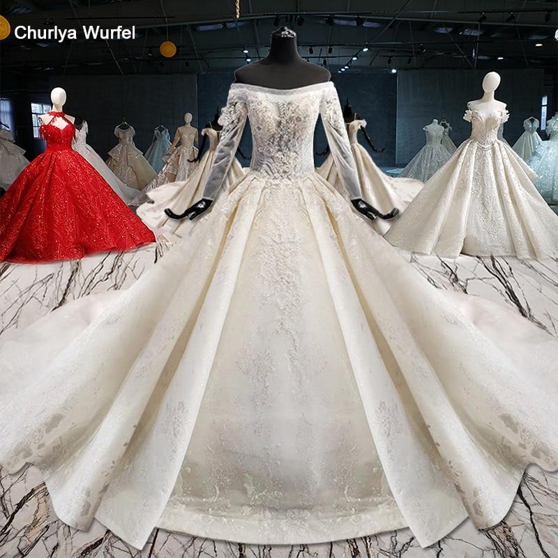 HTL1010 Arabic Wedding Dresses Dubai Bride Dress Long Sleeve Bead Lace Up Plus Size Wedding Gown Watteau Train Vestidos De Noiva