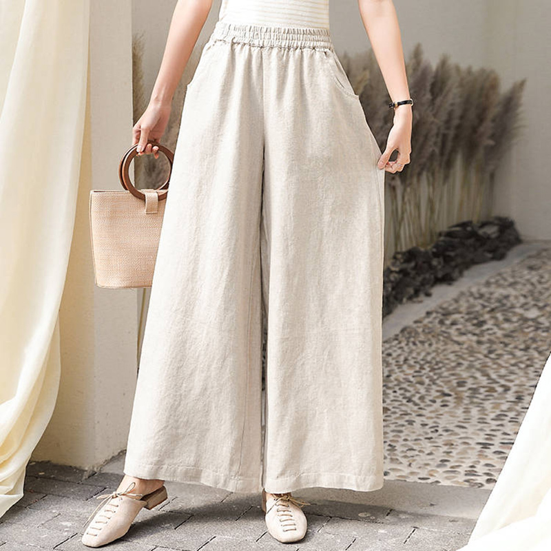 High Waist Women Casual Wide Leg Pants New Arrival 2020 Summer Fashion Korean Style Cotton Linen Loose Female Trausers P338