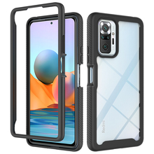 2 in1 Hybrid Rugged Armor Shockproof Case For Xiaomi Redmi Note 10 Pro Max Soft TPU Frame Transparent Acrylic Hard PC Back Cover