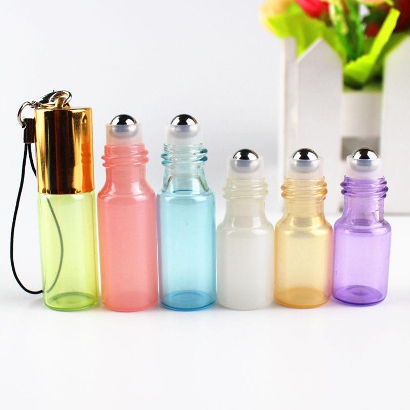 50pcs 3ml 5ml Mini Glass Roll on Bottle Essential Oils Bottle Refillable Perfume Sample Glass Vials with Key Chain Travel Bottle