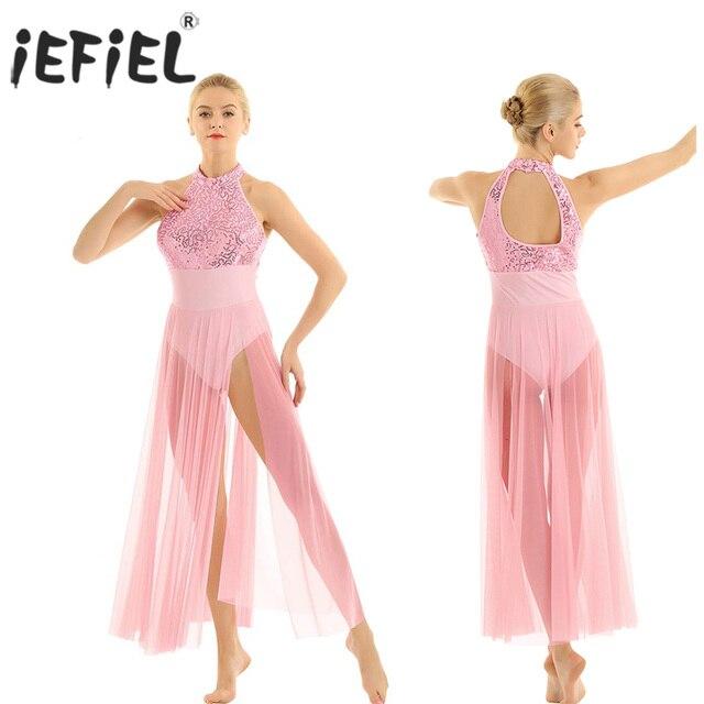 Delle donne Lyrical Danza Costumi Per Adulti Senza Maniche Halter Con Paillettes Maxi Vestito Da Prestazione Della Fase di Ballo di Balletto con Built In Body