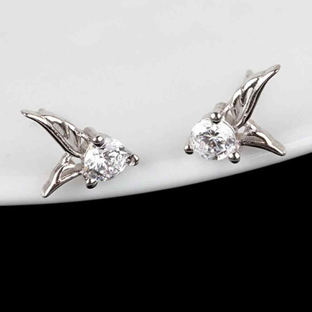 Fashion Silver Emas Stud Anting-Anting Wanita Perhiasan Sayap Malaikat Berlian Imitasi Telinga Stud Perhiasan Wanita Stud Anting-Anting Hadiah Pesta Pernikahan