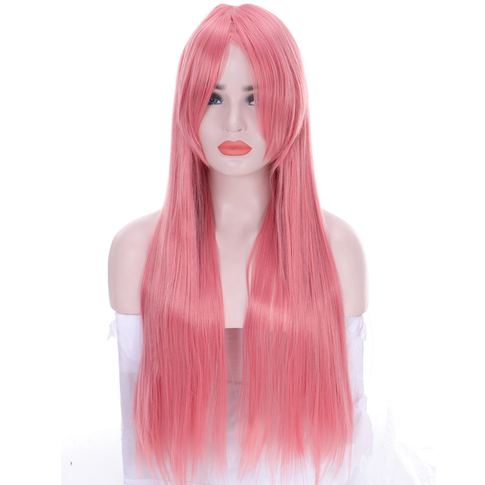 LUPU Pink Long Straight Synthetic Wigs With Bangs For Women Heat Resistant Fiber Natural Fake Hair Cosplay Wig