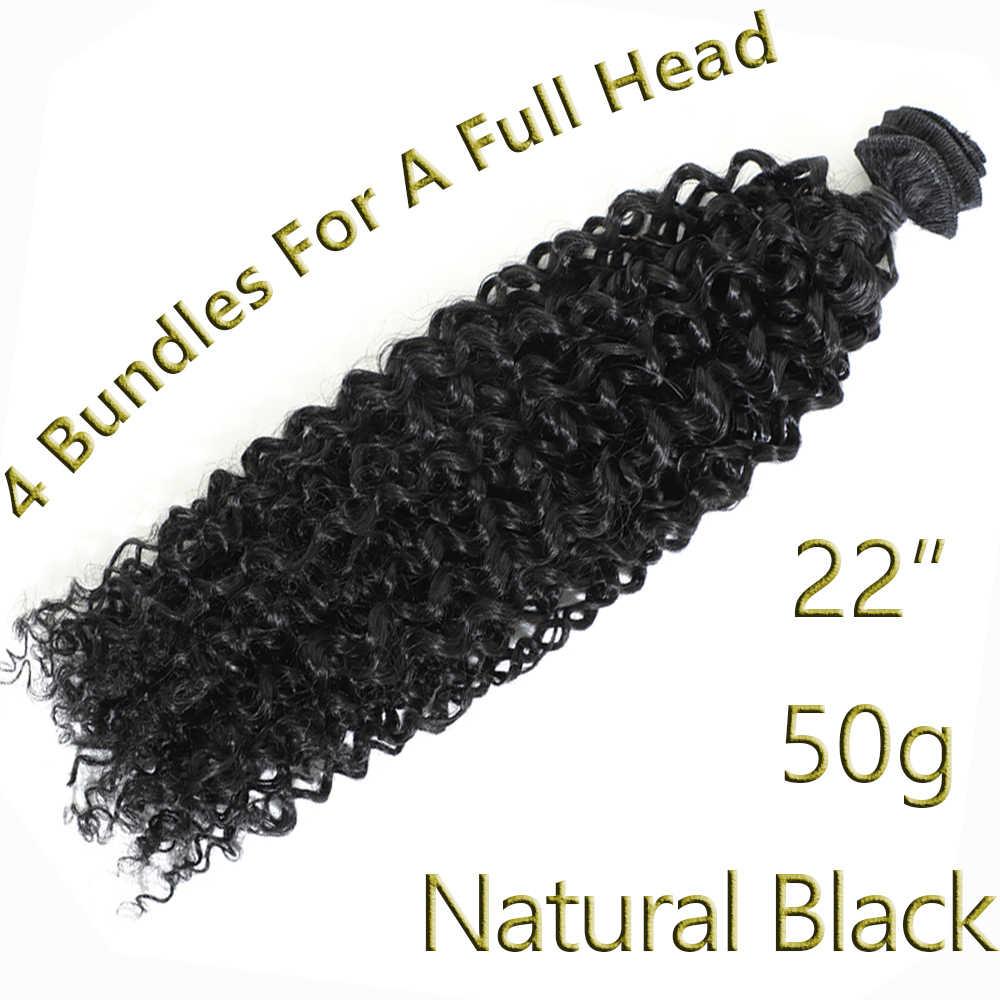 """Syntetyczne Afro perwersyjne doczepy z kręconych włosów żaroodporne perwersyjne kręcone włosy syntetyczne wyplata 22 """"pasma kręconych włosów Natural Black"""