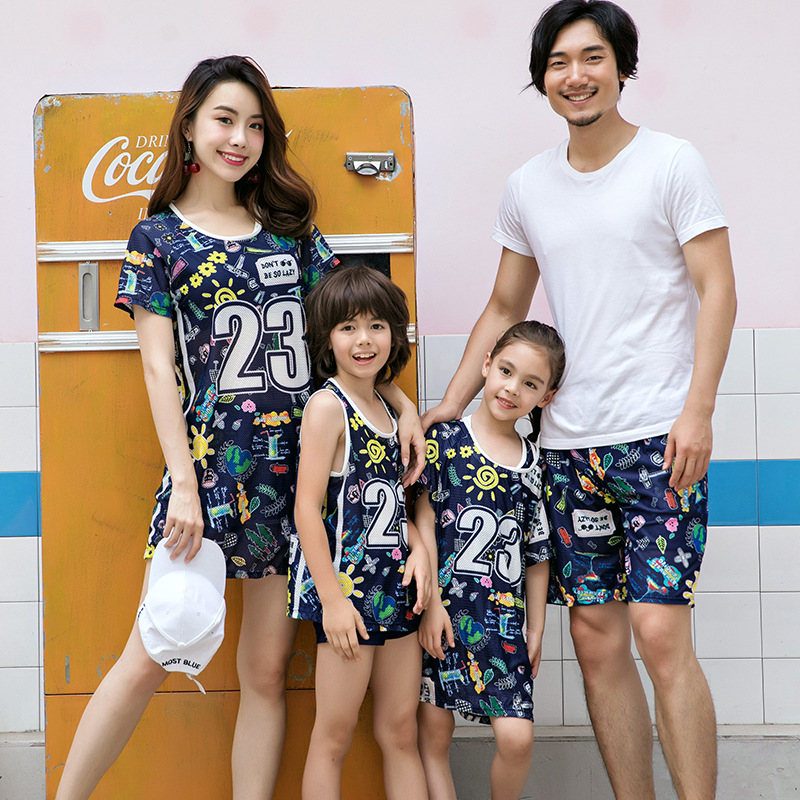 Parent And Child Swimsuit Women's Parents Women's Mother And Child New Style Sports Boxer Split Type Three-piece Set Hot Springs