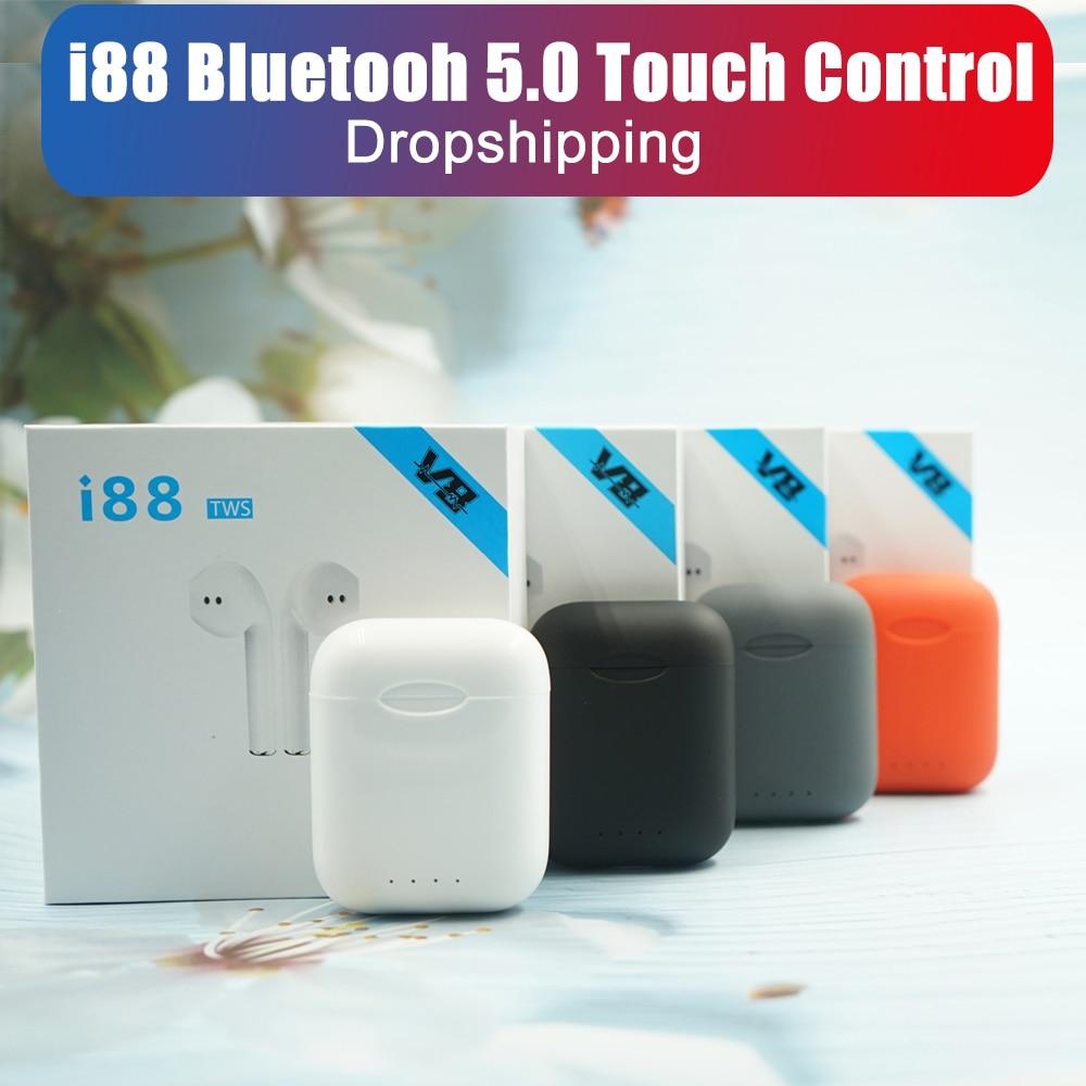 I88 Tws Original Matte Wireless Earphone Bluetooth 5.0 Stereo 1:1 Touch Control Sports Headphones Headset Earpiece For Phone